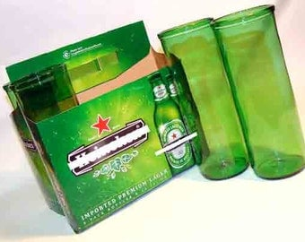 Six Pack Set of Recycled Beer Bottle Drinking Glass Cups / Handblown from discarded bottles 100% recycled