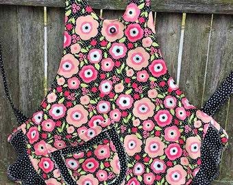 Pink Posies and Polka Dot Flouncy Ruffled Apron