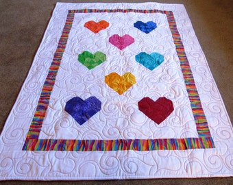 Colorful Weaved Hearts Quilt with Minky Backing