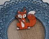 SECONDS - Fox Brooch, Animal Brooch, Fox Brooch, Wood Jewelry
