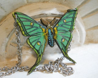 Moth Butterfly Necklace on Silver Chain Decoupage  Nature Garden Jewellry Moth Insect Green Silver Large Link Chain Butterfly Conservation