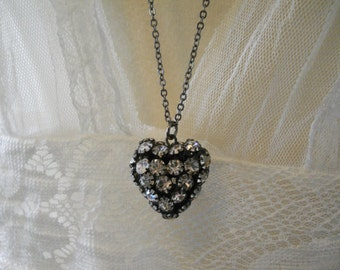 Puffy Rhinestone Heart Charm Necklace Dark Metal with Sparkling Glass Stones  Bling  Long Gunmetal Chain Heart Gift Glass Rhinestone