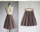 VALENTINES DAY SALE 1950s cotton plaid full skirt / xs - s
