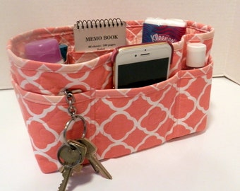 "Purse Organizer Insert/Enclosed Bottom  4"" Depth/ Coral and White"
