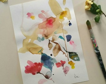 "Original watercolor painting, floral watercolor painting, botanical art  13.37"" x 9.27"" inches"