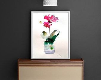 "Watercolor painting,  original floral orchid watercolor painting, botanical art  13.37"" x 9.27"" inches"