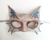 Little Kitty Sugar Skull Leather Mask Cat Day of the Dead  Dia de los Muertos spider web costume