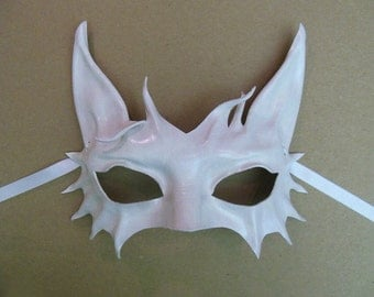 Little Kitty White Cat Leather Mask