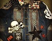 Distressed 80s PUNK glam studded Union Jack heart spikes denim jacket Punk metal Rock Rocker Goth Emo studded patches