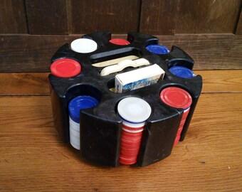 Vintage Plastic Lazy Susan Poker Caddy Poker Chip Set