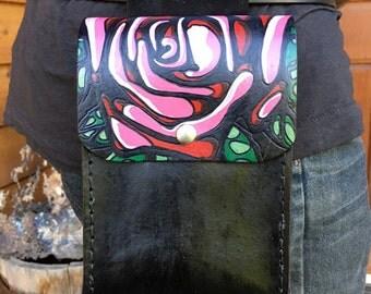 Leather belt bag with rose