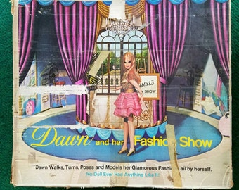 1970s Vintage Dawn and Her Fashion Show Stage Revolving Stage with Backdrop Dawn Doll Fashion Show with Original Box
