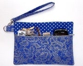Blue Silver Wristlet, Floral Clutch, Polka Dot Wallet, Small Womans Purse, Makeup or Gadget Bag, Camera Holder, Phone Bag