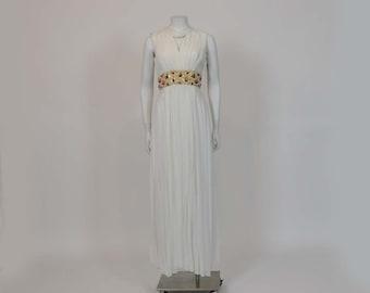 60's Dress / Vintage 1960's Goddess White Chiffon Beaded Dress