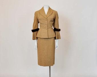vintage suit / Vintage 50's Accordion Mink Jeweled Suit Jacket Skirt