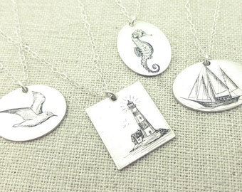 Gift - Nautical Necklace - Lighthouse Jewelry - Wedding Necklace - Seahorse - Schooner - Seagull