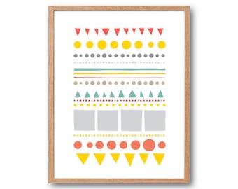 City and forest Geometric Print, Illustration, Decorative Art, Abstract Art, Children Room decor, Kids Room Decor