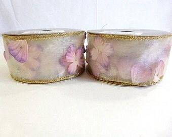 "Martha Stewart Everyday Winter Blossoms Wired Ribbon Organza Ribbon with ""Silk"" Flowers Shower Wedding Decor 2 inches x 21 Feet 2 spools"