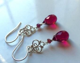 Red Christmas Teardrop Mini Chandelier Earrings, Christmas Gift, Christmas Earrings, style: Ruby Slippers,  Single Stone Chandelier Earrings