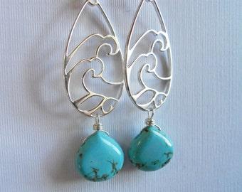 Turquoise Chandelier Earrings, Sterling Earrings, Surf's Up Stering and Turquoise Earrings, Gemstone Earrings