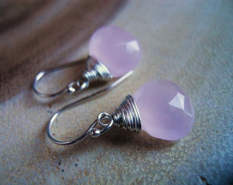 Rose Quartz Pantone Color Of the Year, 12mm Chalcedony, Gemstone Earrings, Sterling, Gold or Rose Gold