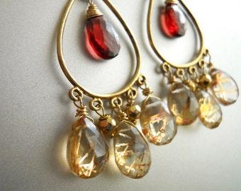 Rutilated quartz earrings, Garnet earrings, gold chandelier earrings, style- Sunrise Earrings, gemstone earrings