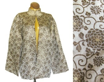 1940s Asian Silk Brocade Jacket Champaign and Metallic Gold with Large Decorative Frog Closure and Matching Drawstring Bag
