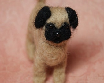 OOAK Needle Felted Pug Dog Fiber Arts Collectible Miniature Stuffed Animal , Doll's Pet, home decoration, baby gift, nature