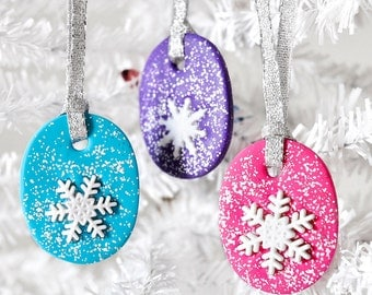 Colorful Snowflake Ornaments in Bright Cyan, Magenta and Purple Clay. Gift Set of Three. Great Stocking Stuffers