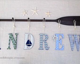 """58"""" 6-Peg Paddle Name Rack with Six 9"""" Decorative Nautica Marine Plaid Baby Name Letters and Rope / Nautical Nursery Decor / Canoe Paddle"""