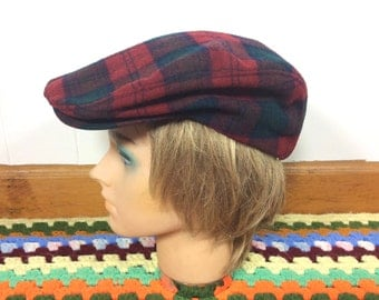 "Vintage Pendleton ""Christmas Plaid"" Newsboy Cap - Size Medium"