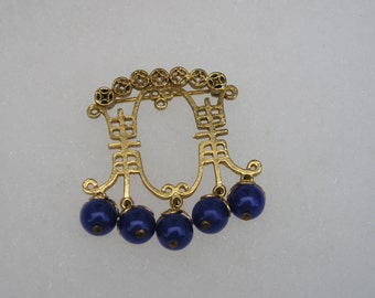 Asian Chinese  Gold tone & Blue Beaded Drop Pin Brooch
