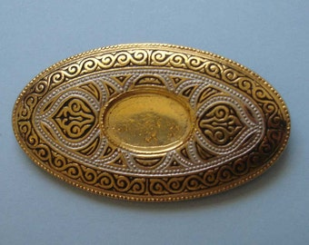 vintage gold damascene brooch finding to WEAR or UPCYCLE