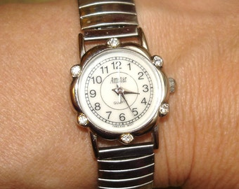 vintage Amstar faux diamond silver snake band quartz watch