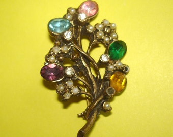vintage colorful gems and pearls brass tone floral brooch