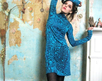 Turquoise Jersey Tunic Dress, Blue Jersey Dress, Futuristic Wearable Art Dress, Hand Printed Geometric Dress, Long Sleeve Dress