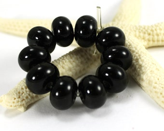 Made to Order, Handmade Lampwork Glass Spacer beads, Black (10), Donna Trull, SRA Ready to Ship