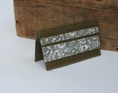 Olive Green Leather Business Card Holder By Binding Bee