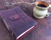 Burgandy Leather Journal / notebook with old world torn edge pages by Binding Bee