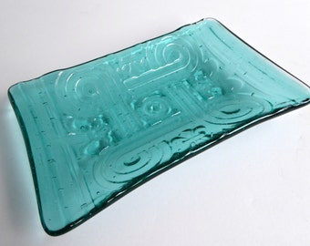Fused Glass Art Decor Imprint Dish in Light Aqua
