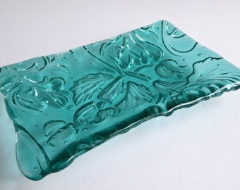 Fused Glass Art Nouveau Imprint Dish in Light Aquamarine