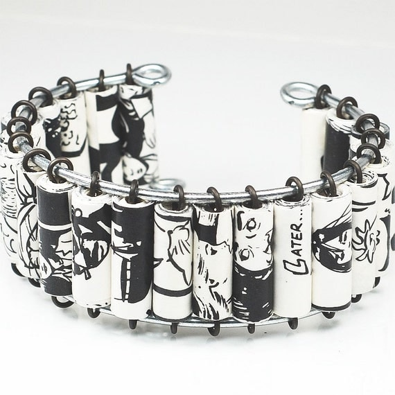 Comic Book Bracelet- Upcycled Black & White Comic Book Cuff Bracelet, Comic Book Jewelry, Geek Gift, Paper Jewelry, Comic Book Lover Gift