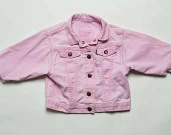 Vintage 1990's Pink Overdyed Denim Jacket Baby Size 24 months Estimated 18-24 months