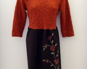 Embroidered Autumn Dress / Harvest - Pumpkin Orange - Chocolate Brown / Velvet Brooch / Unique Upcycled OOAK Fall Fashion / Gift Under 75
