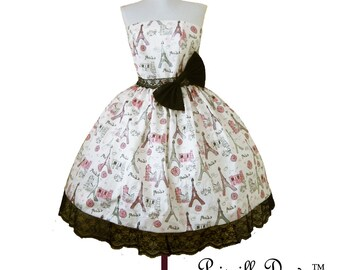 Summer sALE A walk in France dress Inspired LIMITED EDITION  French----Custom in your size.