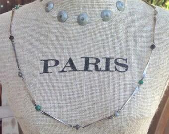 "Sterling Silver ""Bone"" Hammered/Forged Necklace w/ Iolite, Emerald, Labradorite"