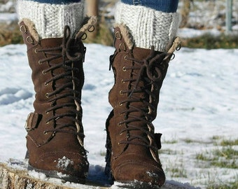 Chunky Boot Cuffs Hand Knitted in Linen Winter Fashion Accessory