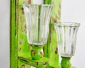 Wall Scones - Lemon Grass Green - Distressed Wood - Pillar Candle Holders - Taper Candle Holders - Wood and Glass - Pillar and Taper - set