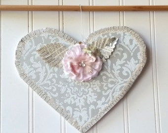 Vintage wallpaper Heart wall hanging Valentine ornament grey white damask pink millinery flower French text Farmhouse Cottage Chic decor
