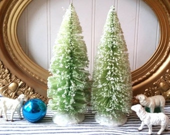 Pair 9 inch bottle brush trees pale green glittered Christmas tree mica vintage style Farmhouse Cottage Holiday decor